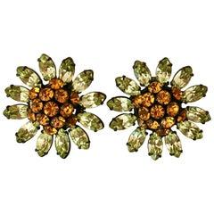 Schreiner Green and Orange Flower Earrings, 1960s