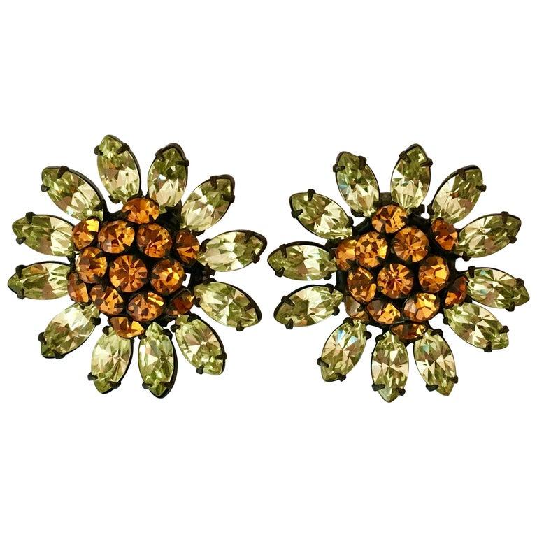 Schreiner Green and Orange Flower Earrings, 1960s For Sale