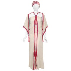 Mary Farrin London Beige Raspberry Hand-Knit Tassel Halter 4 Pc Ensemble, 1970