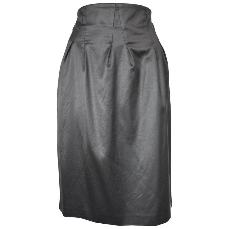 Black Burberry Satin High Waist Skirt
