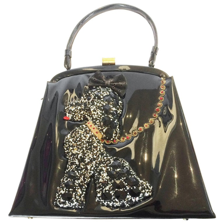Soure New York Mid Century Patent leather Poodle Dog handbag