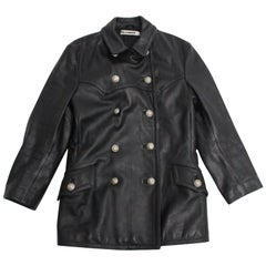 Jil Sander Vintage Black Double Breasted Leather Jacket