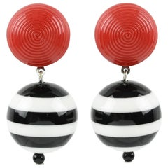 Angela Caputi Black White Red Nautical Color Dangling Resin Clip On Earrings