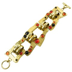 Mercedes Robirosa Modernist Gilt Metal Link Bracelet with Poured Glass Cabochons