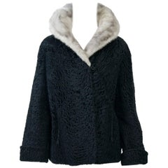 Broadtail Jacket with Gray Mink Collar