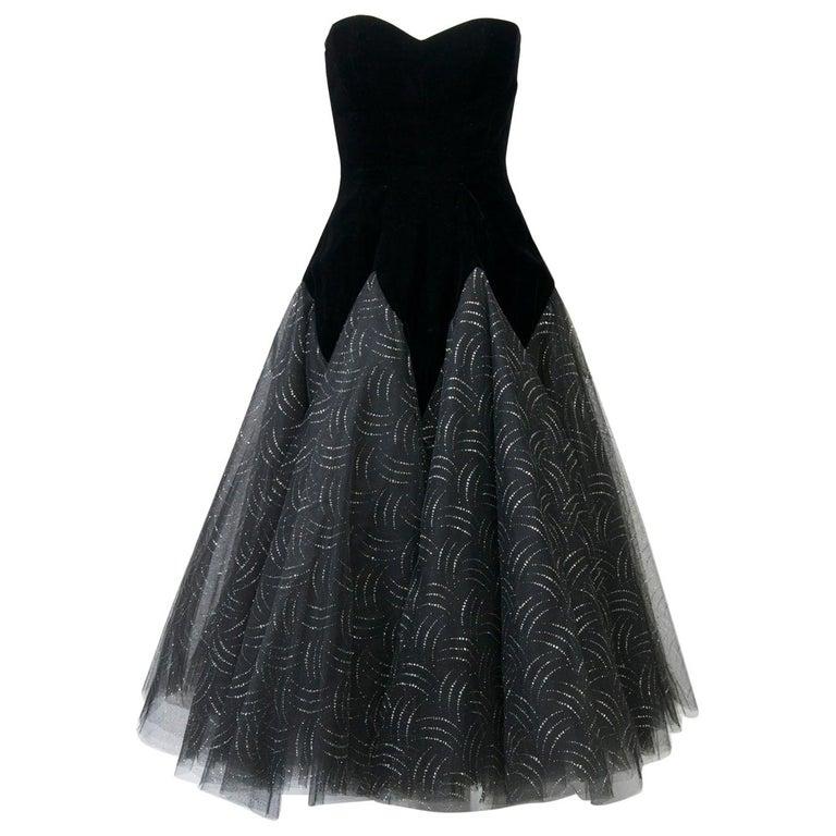 Victor Costa Velvet / Tulle Strapless Dress