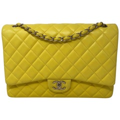 Chanel Yellow Maxi Double Flap Bag