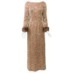 Kiki Hart Brocade Gown with Mink Cuffs