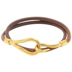 Hermes Brown Leather x Gold Tone Hook Double Wrap Jumbo Bracelet