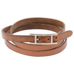 Hermes Api III Brown Leather Silver Tone H Logo Wrap Bracelet