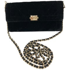 Chanel Black Velvet Crossbody Bag