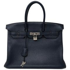Hermes Bleu Abysse Palladium Hardware Birkin 35 Bag
