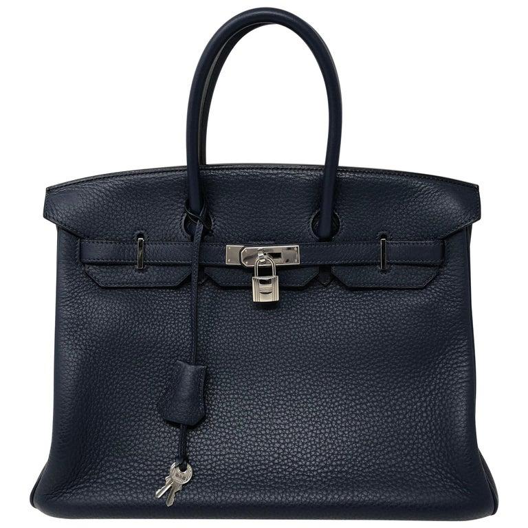 Hermes Bleu Abysse Palladium Hardware Birkin 35 Bag For Sale