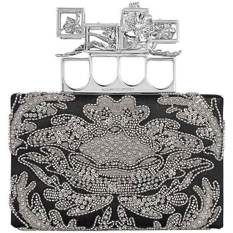 Alexander McQueen Embroidered Silk Poppy Cage Knuckle Box Clutch
