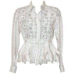 Alaïa Beige Cotton Bend Lasercut Drawstring Shirt