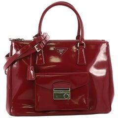 Prada Front Pocket Double Zip Lux Tote Saffiano Leather Medium