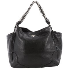 Prada Lux Chain Side Pocket Hobo Cervo Leather Small