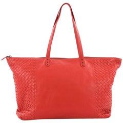Bottega Veneta Zip Top Tote Leather with Intrecciato Detail Large