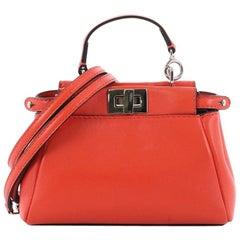Fendi Peekaboo Handbag Leather Micro