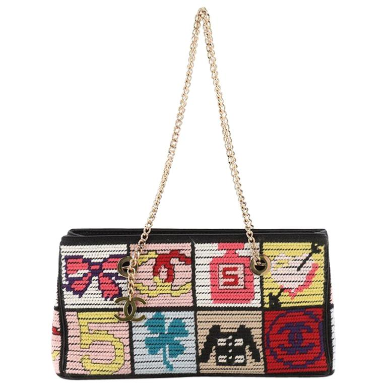 84b8943d8d7e Chanel Vintage Patchwork Icons Chain Tote Crochet Tweed Small at 1stdibs