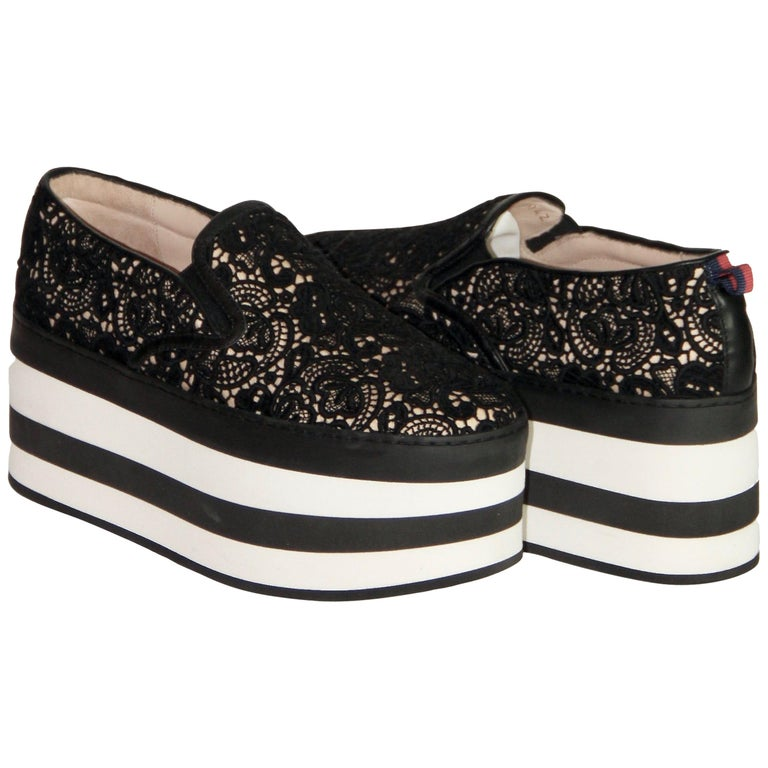 Gucci Black Lace Platform Sneaker For Sale