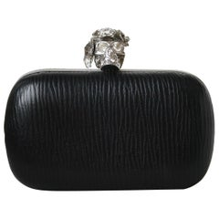 Alexander McQueen Poppy Embellished Skull Leather Box Clutch