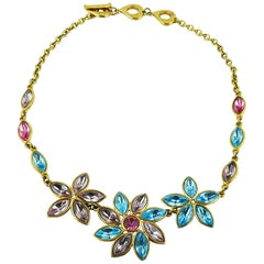 Yves Saint Laurent YSL Vintage Jewelled Floral Necklace