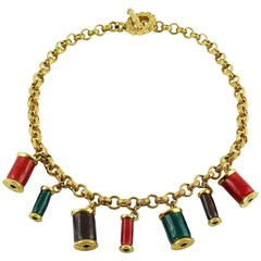 Nina Ricci Vintage Multicolored Sewing Thread Spool Charm Necklace