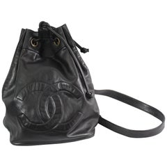 Chanel Vintage Black  Leather Backpack