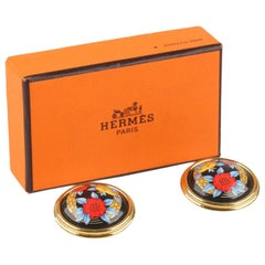 Hermes Golden Round Clip On Enamel Poppy Flowers Earrings