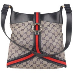 Gucci Vintage Blue Monogram Canvas Shoulder Bag with Stripes