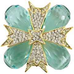 Kenneth Jay Lane Blue Lucite Maltese Cross Brooch / Pendant, 1970