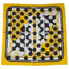 Hermes x Comme des Garcons Gold and Black Silk Polka Dot Quadrige Scarf