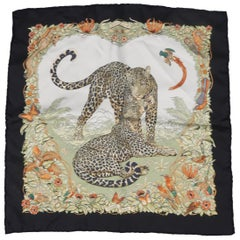 "HERMES Pocket Square ""Jungle Love"" Black & Teal Silk Handkerchief"