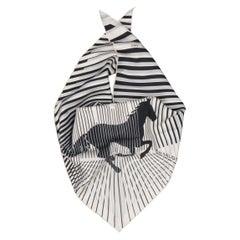 HERMES Scarf - H au Galop Horse - White & Black Print Silk Triangle