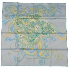 HERMES Scarf - H Comme Histoires - Light Blue Silk Scarf