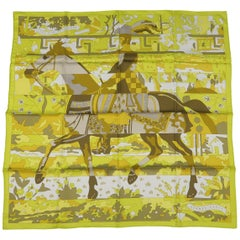 HERMES Scarf - New - LES DIX CAVALIERS - Chartreuse Green - Silk Scarf