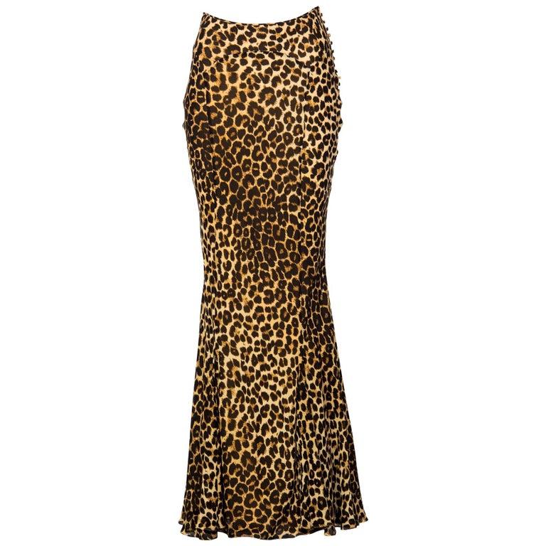 John Galliano Animal Leopard Print Silk Maxi Skirt