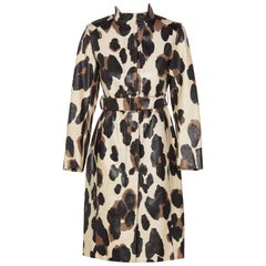 Yves Saint Laurent YSL Animal Print Belted Trench Coat