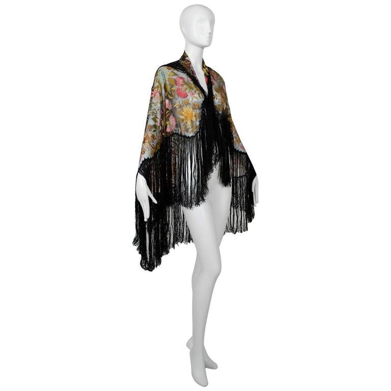 Haute Couture Embroidered Silk Mantilla – Garros Estate, 1900s For Sale