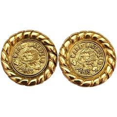 Karl Lagerfeld Goldtone Coin Earrings, 1990s