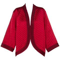 1970s Yves Saint Laurent Chinese Quilted Red Satin Jacket YSL