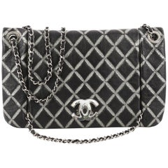 Chanel Crystal CC Chain Flap Bag Hand Painted Leather Small