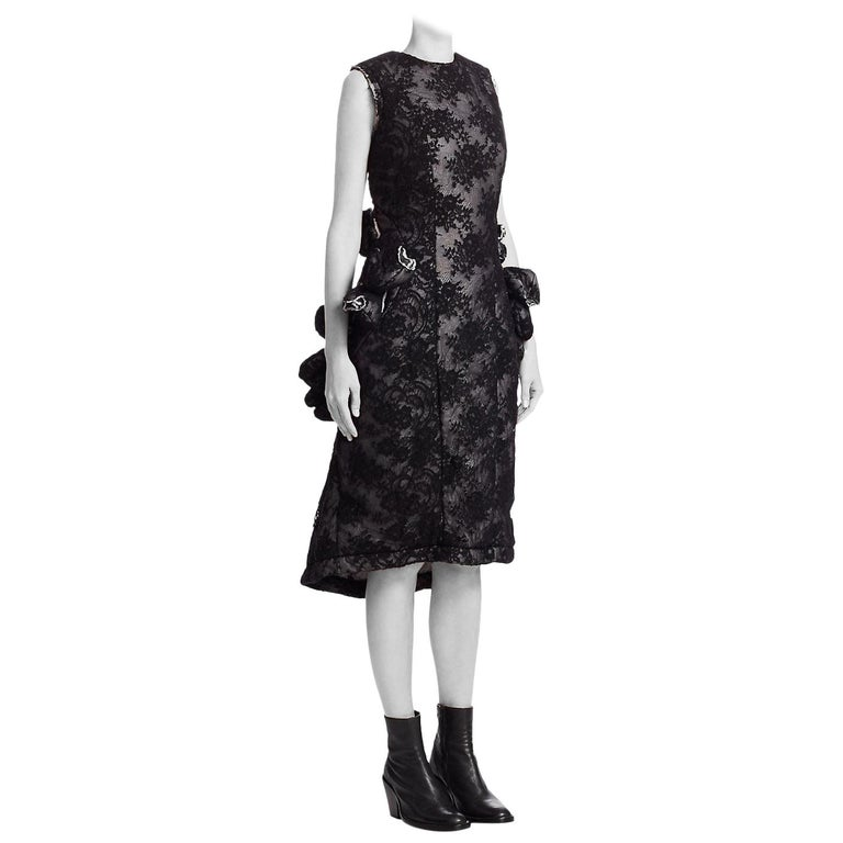 Comme des Garcon Padded Black Lace / Tulips Raw Edge Future of Silhouette Dress  For Sale