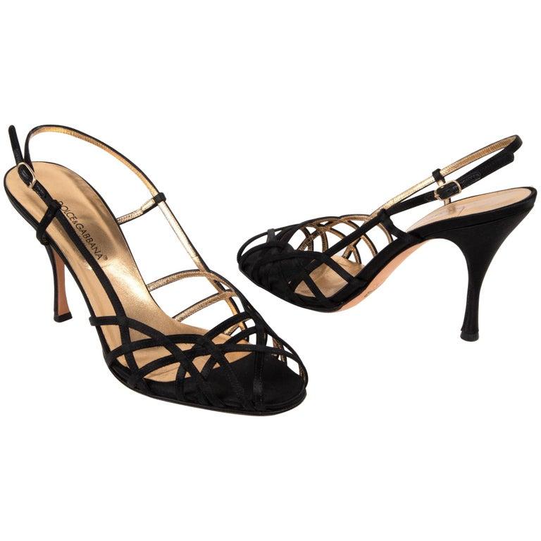 Dolce&Gabbana Shoe Strappy Black Satin Mint 39.5 / 9.5 For Sale