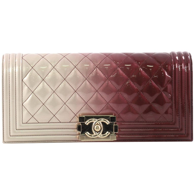 bc92652b508a Chanel Boy Flap Clutch Quilted Ombre Patent Small at 1stdibs