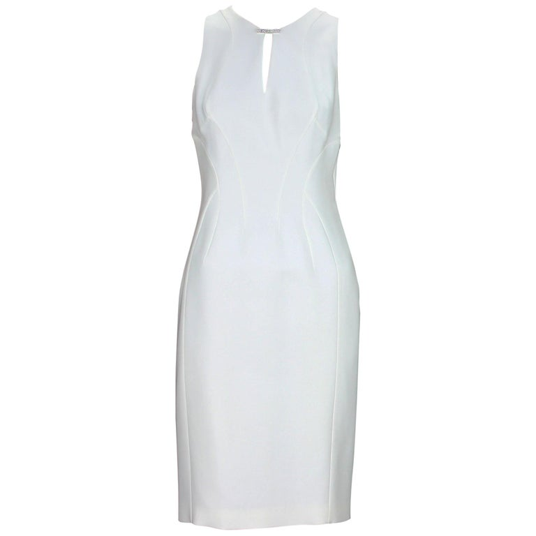 New Versace White Silk Cocktail Dress with Swarovski Crystals It 40 -US 6