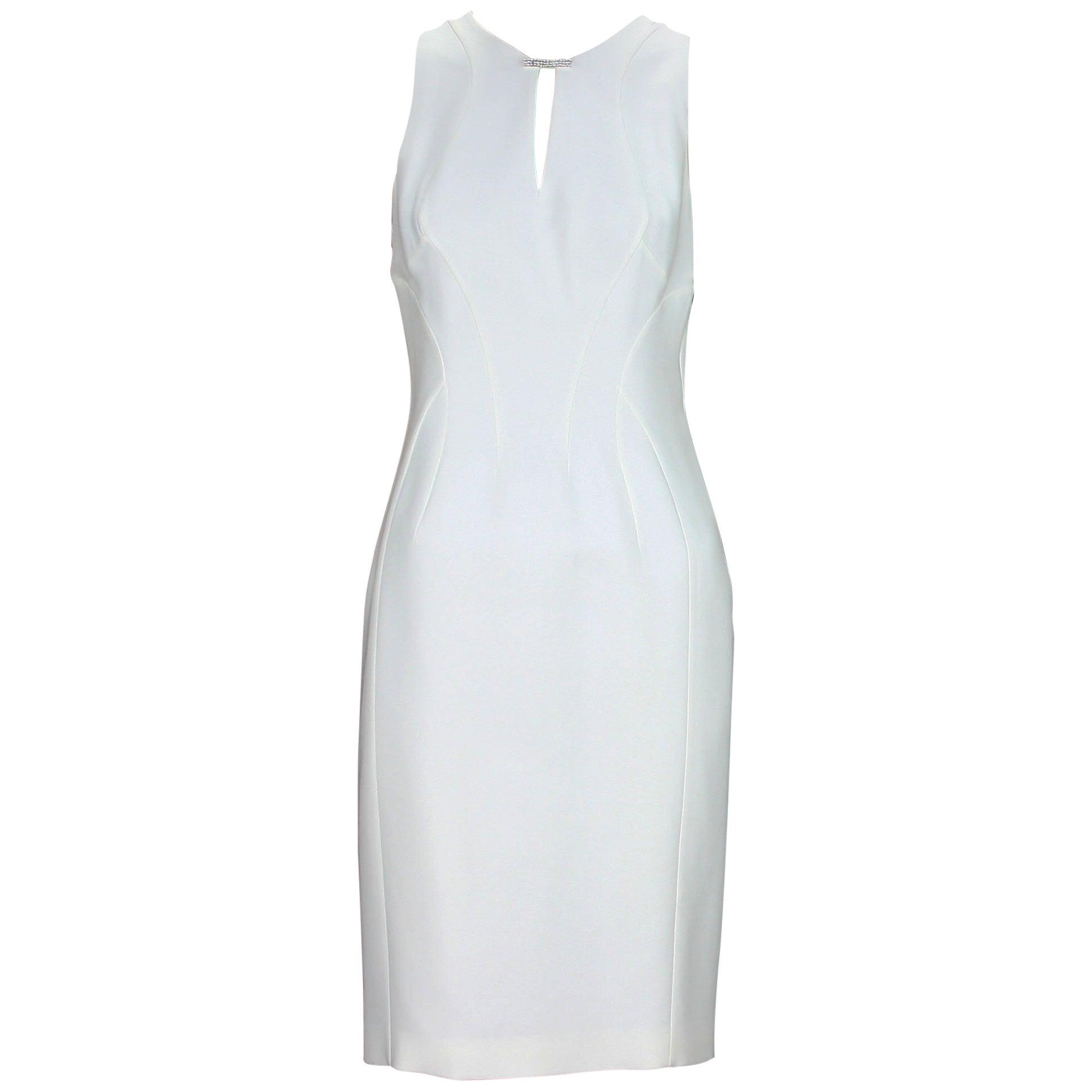 New Versace White Silk Cocktail Dress with Swarovski Crystals It 40 -US 6
