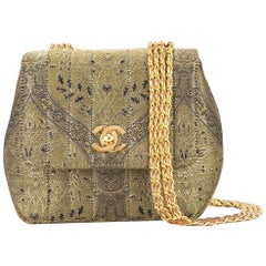 Chanel Green Gold Jacquard Small Party Evening Shoulder Flap Bag