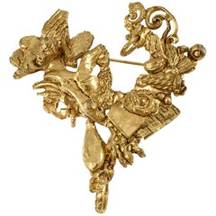 Christian Lacroix Abstract Heart Brooch, 1990s